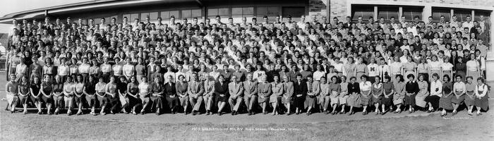 1953 graduates of Milby High School, Houston Texas--Mark 4th from left on top row