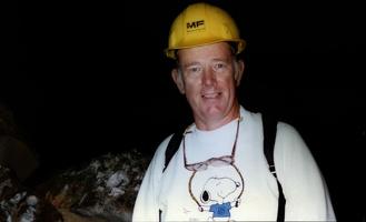 Mark exploring lava tubes near Grants